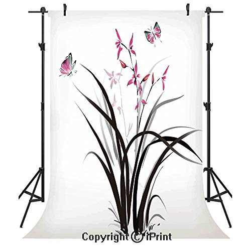 Butterflies Photography Backdrops,Chinese Orchid and Butterfly Exotic Wild Mysterious Ink Style Print Home,Birthday Party Seamless Photo Studio Booth Background Banner 5x7ft,Pink Brown Cream