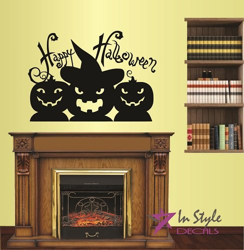 In-Style Decals Wall Vinyl Decal Home Decor Art Sticker Happy Halloween Phrase Words Funny Pumpkin Holidays Room Removable Stylish Mural Unique Design for Any Room -