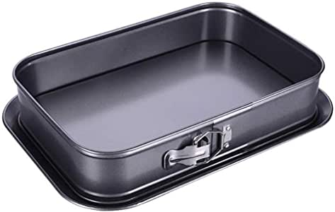 Eyra Non-Stick Cheesecake Pan, Springform Pan, Rectangle Cake Pan with Removable Bottom Leakproof and Quick Release Latch Bakeware 14 inches 9.3 inches 3 inches Black