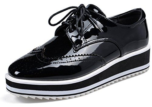 DADAWEN Women's Casual Lace-Up Platform Wingtips Square Toe Oxfords shoe Black US Size 8