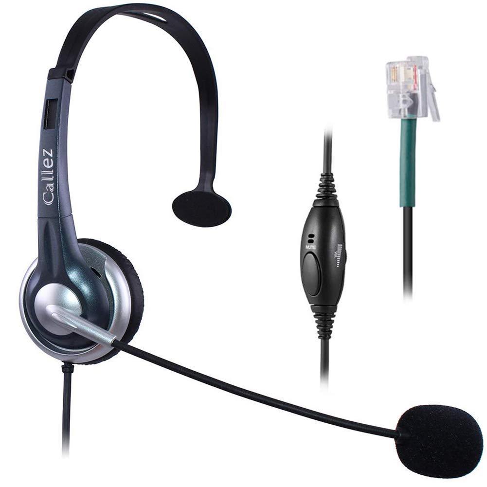 Callez Corded Office Telephone Headset RJ9, with Noise Canceling Mic Mono, for ShoreTel 230 420 480 Polycom VVX310 VVX311 VVX410 VVX411 Avaya 1408 1416 5410 Plantronics NEC Landline Deskphones W300A1 by Callez