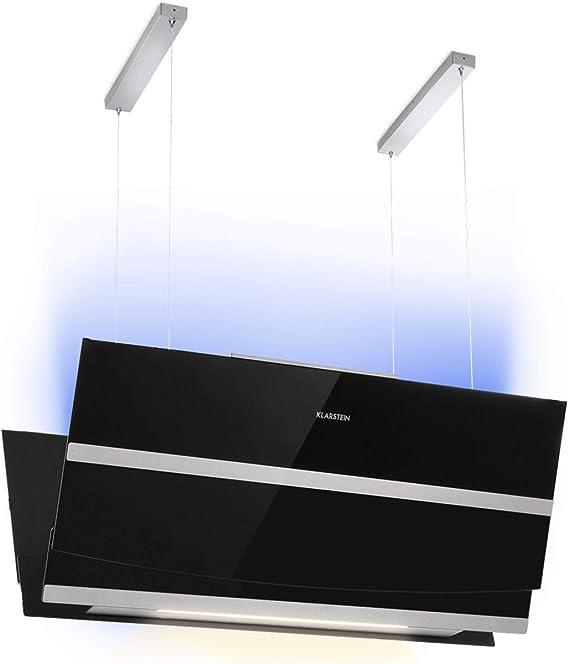 Klarstein Prism Deluxe Extractor de humo - Campana extractora en isla, Ecológica, Eficiencia energética A, 720m³/h, Control táctil, Pantalla LCD, Iluminación LED, absorve y ventila, Negro: Amazon.es: Hogar