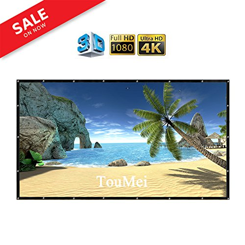 84 Inch portable Projector Screen Foldable Material: PVC 16:9 Easy to Clean HD Projection Screens Suitable for KTV, meeting rooms and outdoor leisure, open-air movies by TOUMEIT