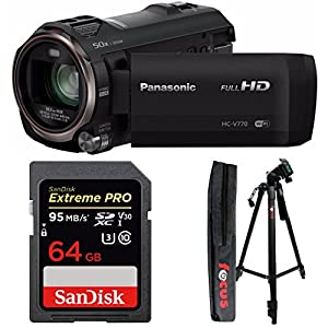Panasonic HC-V770 HD Camcorder w/ 64 GB SD Card & 59-Inch Tripod