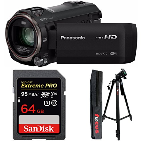 Panasonic HC-V770 HD Camcorder w/64 GB SD Card & 59-Inch Tri