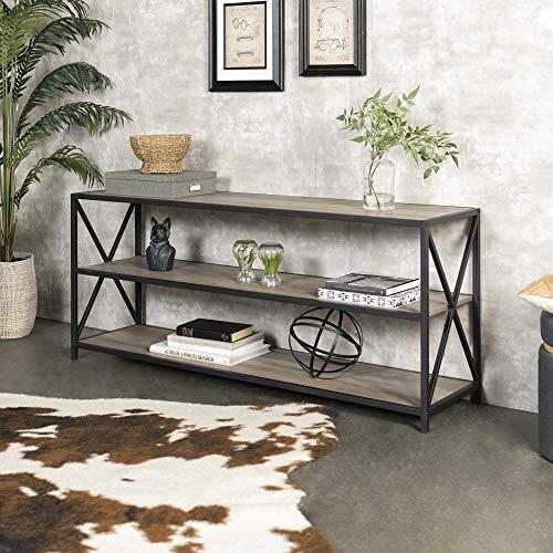 WE Furniture AZS60XMWGW 2 Shelf Industrial Wood Metal Bookcase Bookshelf Storage, 60 Inch, Grey (Grey Metal Bookcase)