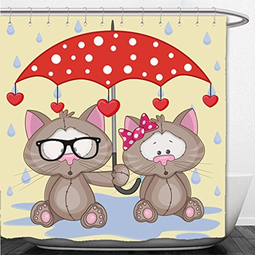 Interestlee Shower Curtain greeting card two cats with umbrella 286078574 (Walmart Umbrellas Patio)