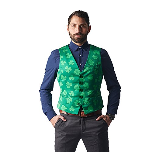 Stir Clothing Co. Get Lucky Irish Shamrock ST Patricks Day Vest ,Green,Size 40