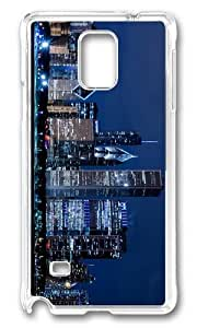 MOKSHOP Adorable chicago blue Hard Case Protective Shell Cell Phone Cover For Samsung Galaxy Note 4 - PC Transparent