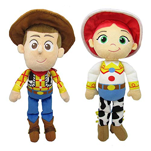 JEM SHOP Disney Toy Story, 1 Woody Plush Doll and 1 Jessie Plush Doll, 8 Inch Bundle, Toddler 2 Pack Gift Set -