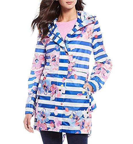Joules Women's Golightly Printed Packable Waterproof Rain Coat (Blue Stripe Floral, 10)