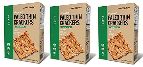 Paleo Thin Crackers (Salt & Pepper) (Organic)(Low Carb) (Grain-Free)(Gluten-Free) (Value Pack 3 Boxes)