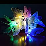 Sotijobs 12 Led Colorful Fiber Optic Decorative Butterfly Solar Powered Night String lights for Christmas Garden Patio Indoor Outdoor