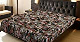 Black Multicolor Paisley Print King Size Kantha Quilt , Vintage Style King Size Bed Spread Cover Sheet , Kantha Blanket, Bed Cover, King Kantha bedspread, Bohemian Bedding Kantha Size 90Inchx108inch