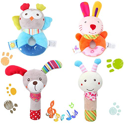4 PCS Set Wrist Hand Bell Rattle Shaker Toy - Cartoon Stuffed Animal Baby Soft Plush Squeaker Sticks, for Interactive Baby for Toddler, Infants and Kids Plush Owl, Rabbit, Puppy, Bee - Rabbit Plush Rattle