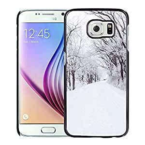 New Custom Designed Cover Case For Samsung Galaxy S6 With Winter Road Romantic Nature Mountain Now White Wallpaper Phone Case