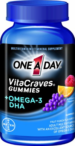 ONE A DAY VITACRAVES - BONBONS MULTI VITAMINES OMEGA 3 A CROQUER - 80 CAPSULES