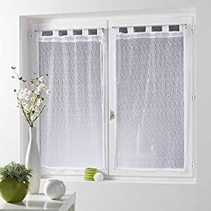 Eminza - Cortinas (120 cm de largo, malla fina), color blanco