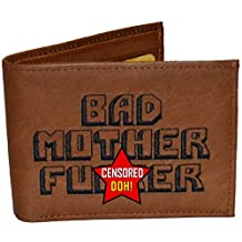 BMF Embroidered Genuine Leather Wallet Brown Raw Thick