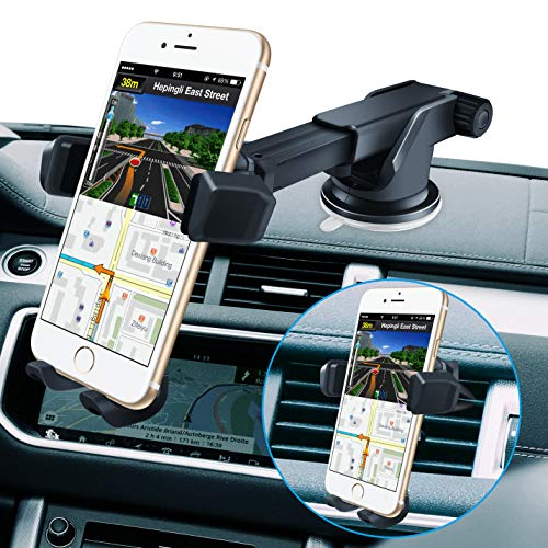 BOLWEO Phone Car Holder Dashboard, Cell Phone Stand Air Vent , Windshield Cell Phone Automobile Cradles Compatible with iPhone 11 Pro XS Max XR X 8 7 6 Samsung Galaxy LG Nexus Nokia (Black)
