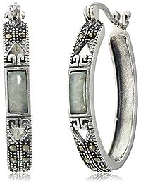 Sterling Silver Marcasite Green Jade Oval Hoop Earrings