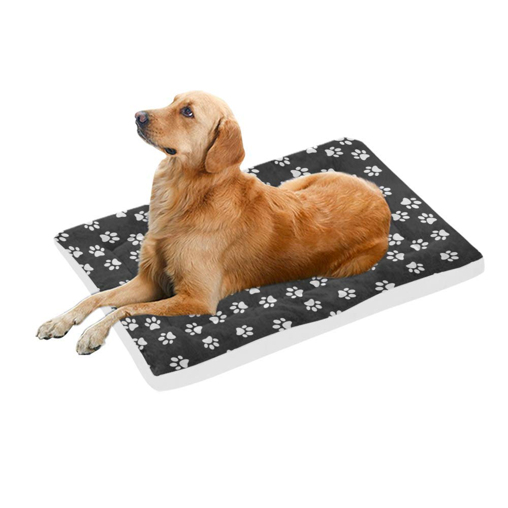 Black 42-Inch Black 42-Inch VunKo Black Cute Paw Prints 42 Inch Pet Bed Home Mat for Dogs and Cats