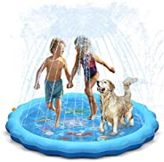"QPAU (Upgraded 2020 Version) Splash Pad, 68"" Sprinkler for Kids Dogs, Kiddie Baby Shallow Pool,Outside To"