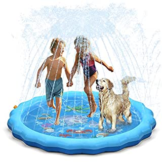 "QPAU (Upgraded 2020 Version) Splash Pad, 68"" Sprinkler for Kids Dogs, Kiddie Baby Shallow Pool,Outside Toys Water Toys for Kids, Outdoor Toys for Toddlers Age 3-5 (Blue)"