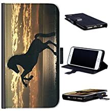 Hairyworm - BG0236 Silhouette of horse rearing up Samsung Galaxy S5, Samsung Galaxy S5 Neo, Samsung Galaxy S5 Plus leather side flip wallet cell phone case, cell phone cover with card slots, money slot, stand point and magnetic clasp to close. Samsung Galaxy S5 case