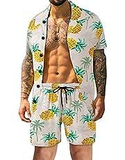 Atwfo Men's Hawaiian Shirts Casual Button-Down Short Sleeve Printed Shorts Summer Beach Tropical Hawaii Shirt Suits.
