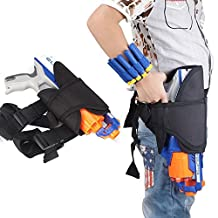 Pawaca Kids Waist Leg Holster Bag and 2 Dart Wrister Bands Kit for Nerf Guns N-strike Elite Series Blaster