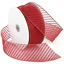 Morex Ribbon Stripes Wired Sheer Glitter Ribbon, 2-1/2-Inch by 50-Yard Spool, Red/Red