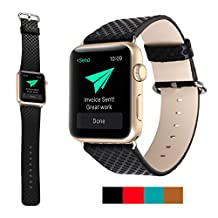 Sugelary Replacement Genuine Leather Watchband with Metal Adapter Clasp For Apple Watch & Sport & Edition (Black,42mm)