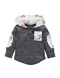 Staron  Baby Hoodies Infant Boy Girls Floral Hooded Sweatshirt Pockets Pullover Tops
