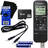 Sony ICD-PX370 Mono Digital Voice Recorder with Built-in 4GB & Direct USB + 32GB Micro SDHC Memory Card + Auxiliary Cable + AAA Batteries + HeroFiber Ultra Gentle Cleaning Cloth