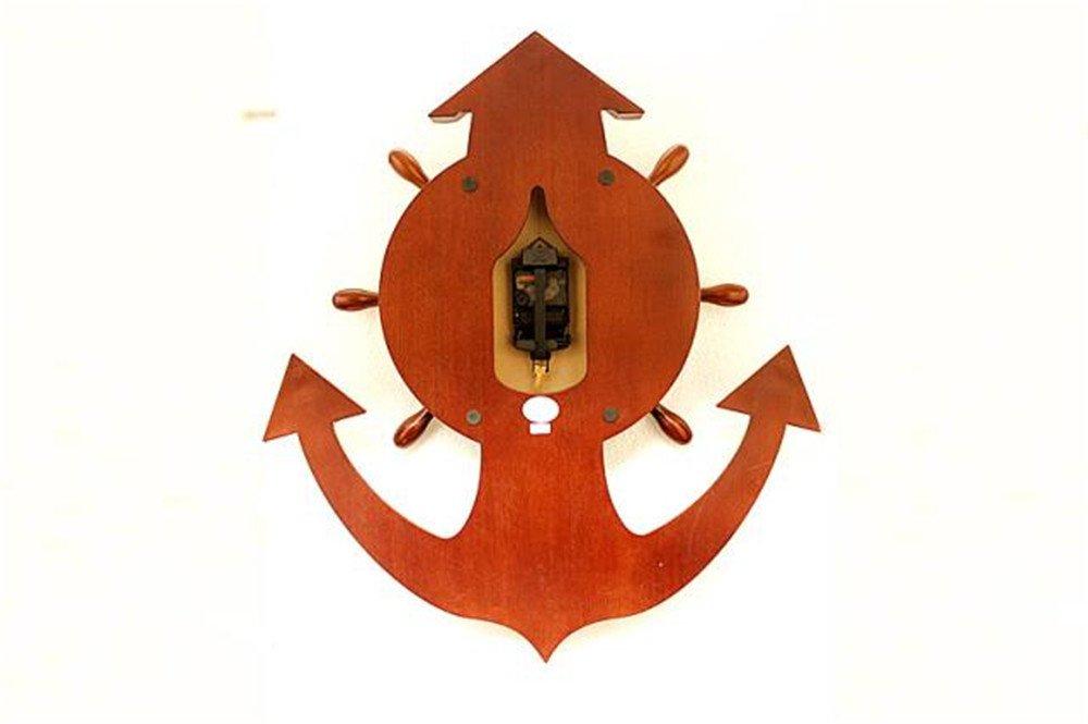 Imoerjia Anchor Creative Personality Wooden Mute Wall Clock Living Room Large and Stylish Retro Quartz Clock Wall Clock /65X58Cm