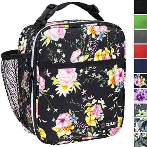 OPUX Premium Insulated Lunch Box | Soft Leakproof School Lunch Bag for Girls | Durable Reusable Work Lunch Pail Cooler for Adult Women, Office Fits 6 Cans (Black Floral)