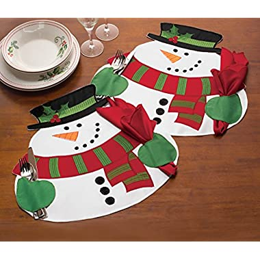 Snowman Christmas Napkin Holding Placemats, 4Pc