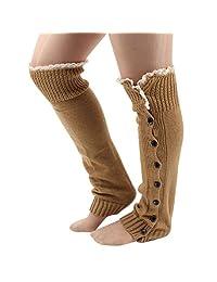 Lowpricenice Women Crochet Knitted Stocking Leg Warmers Socks