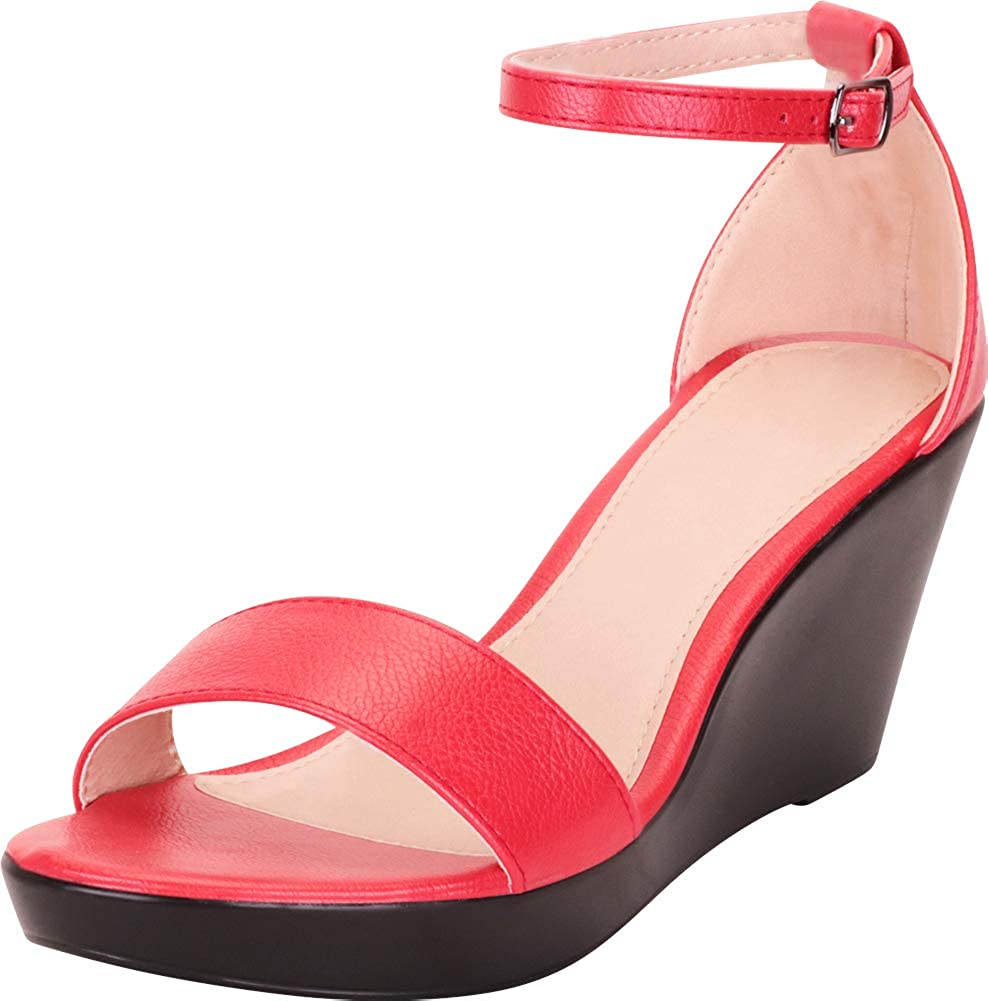Red Pu Cambridge Select Women's Classic Open Toe Ankle Strap Chunky Platform Wedge Sandal