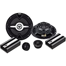 "Vector 6.25"" 2-Way Component Speaker System - 300 Watt Coaxial Audio Stereo Set with Mid-woofer, 1"" Dome Tweeters - Custom Grills, Mounting Hardware, Wiring Kit, and Template - Lanzar VC6K (Black)"