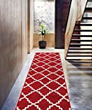 "Teracotta Red Rug Trellis Morrocan Modern Geometric Wavy Lines 2x7 ( 2'3"" x 7'3"" Runner ) Area Rug Living Dining Room Bedroom Rug Carpet Contemporary Soft Plush Quality"