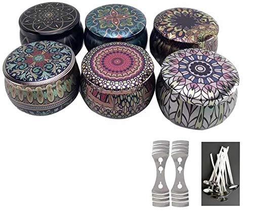 6 latas para velas mandala con 10 mechas 2 disp de centrado