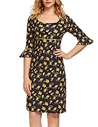 ACEVOG Women's Short Sleeve Square Neck Casual Vintage Floral Homecoming Prom Dress