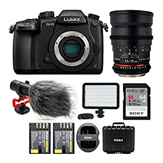 Panasonic LUMIX DC-GH5 Wi-Fi 4K Digital Camera Body with 35mm T/1.5 Cine Lens Bundle