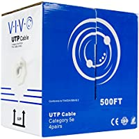 VIVO New 500 ft bulk Cat5e Ethernet Cable/Wire UTP Pull Box 500ft Cat-5e Grey (CABLE-V002)