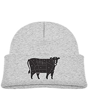 Kids Knitted Beanies Hat Cuts of Beef Winter Hat Knitted Skull Cap for Boys Girls Blue