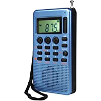 TIVDIO MR-12 Pocket AM FM Stereo Radio with Micro SD T-Flash Card MP3 Player Speaker AUX Input Sleep Timer (Blue)