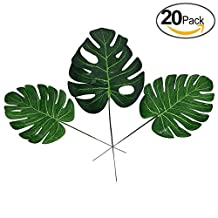 XIHAROOM 20pcs Artificial Tropical Palm Leaves,Simulated Turtle Leaf,Fake Monstera Plants For Home Decoration Indoor Plants Flower Arrangement Accessories(Size M)