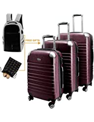 HORIZONA 3 Pieces Hardside Luggages Set Lightweight Spinner Trolley (20 24 28)